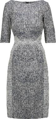 Lela Rose , Cotton Blend Jacquard Dress Navy