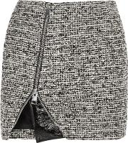 Bouchra Jarrar , Wool Blend Tweed And Faux Patent Leather Mini Skirt Gray