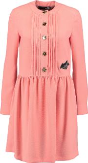 Love Moschino , Pintucked Embroidered Crepe Dress Baby Pink