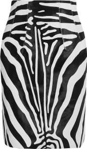 Topshop Unique , Vaughn Zebra Print Calf Hair Skirt Zebra Print