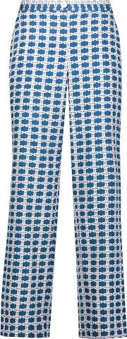 Tanya Taylor , Selby Cropped Printed Silk Blend Wide Leg Pants Blue