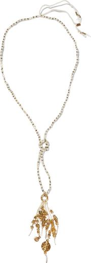 Chan Luu , Gold Tone, Bead And Cord Necklace One Size