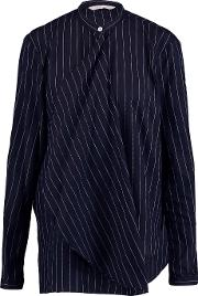 Dion Lee , Draped Pinstriped Woven Cotton Shirt Midnight Blue
