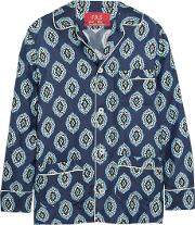 Frs For Restless Sleepers , F.r.s For Restless Sleepers Rea Printed Silk Twill Shirt Royal Blue