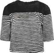 Goen J , Marine Striped Faux Fur Top Black