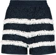Goen J , Striped Cotton Blend Guipure Lace Shorts Navy