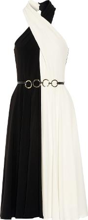 Halston Heritage , Belted Two Tone Crepe Dress Black