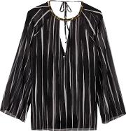 Halston Heritage , Embellished Striped Georgette Blouse Black