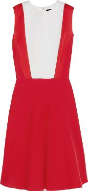 Jonathan Saunders , Trinity Satin Trimmed Crepe Dress Red