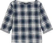 Madewell , Herald Curtis Plaid Cotton Flannel Top Midnight Blue