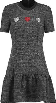 Markus Lupfer , Embroidered Stretch Knit Mini Dress Anthracite