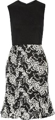 Mikael Aghal , Embroidered Crepe Dress Black