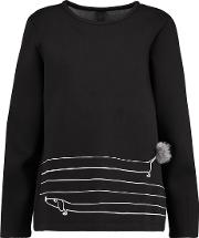 Mother Of Pearl , Edith Embroidered Cotton And Modal Blend Scuba Sweatshirt Black