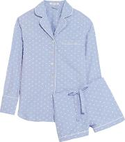 Olivia Von Halle , Alba Embroidered Cotton Pajama Set Sky Blue