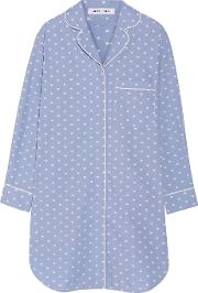 Olivia Von Halle , Poppy Cotton Nightshirt Sky Blue