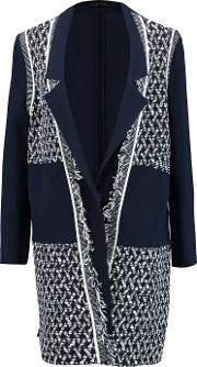 Roland Mouret , Marah Boucle And Crepe Coat Navy