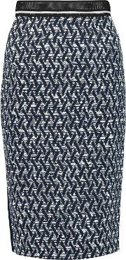 Roland Mouret , Sitona Boucle And Crepe Skirt Navy