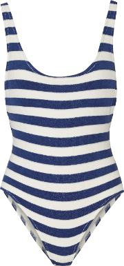 Solid And Striped , The Anne Marie Striped Stretch Terry Swimsuit Blue