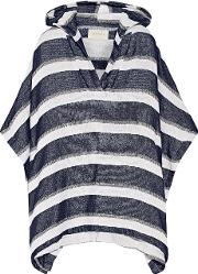 Solid And Striped , The Beach Cape Striped Cotton Blend Terry Poncho Navy
