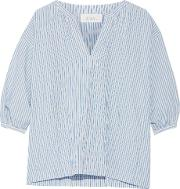 The Great , Striped Cotton And Linen Blend Blouse Azure