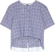 Tim Coppens , Checked Crinkled Cotton Blend Top Royal Blue