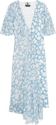 Topshop Unique , Balfour Printed Silk Georgette And Crepe De Chine Dress Sky Blue