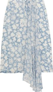 Topshop Unique , Balfour Printed Silk Georgette And Crepe De Chine Skirt Sky Blue