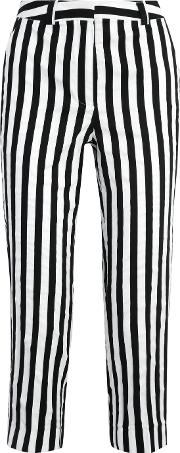Topshop Unique , Harleyford Striped Cotton Blend Slim Leg Pants Black