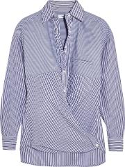 Vince , Striped Cotton Poplin Shirt Blue