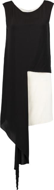 Vionnet , Two Tone Stretch Silk Charmeuse Tunic Black