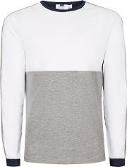 Topman , Mens Blue Navy, White And Grey Panelled Long Sleeve T Shirt