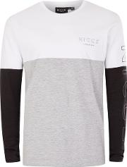 Nicce , Mens Multi  Black, White And Grey Panelled Long Sleeve T Shirt