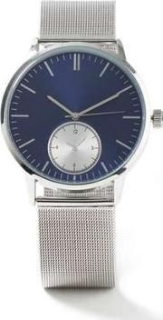 Topman , Mens Silver Mesh Watch