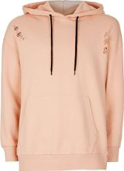 Antioch , Mens  Pink Distressed Oversized Hoodie