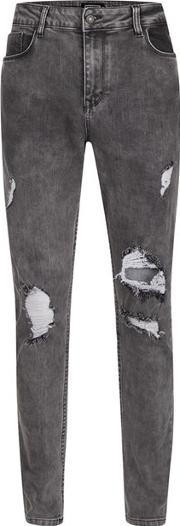 Antioch , Mens  Washed Black Ripped Stretch Skinny Jeans