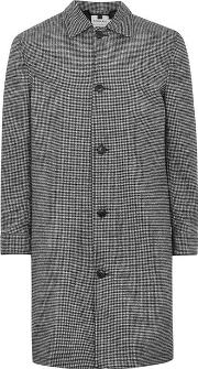 Topman , Mens Black Houndstooth Mac Containing Wool
