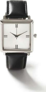 Topman , Mens Black Leather Square Watch