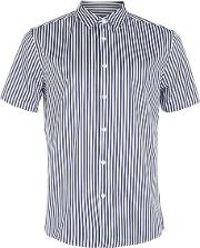Topman , Mens Blue Navy And White Bengal Stripe Short Sleeve Smart Shirt