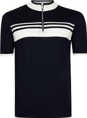 Topman , Mens Blue Navy And White Short Sleeve Muscle Knit