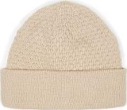 Topman , Mens Brown Stone Textured Knitted Beanie Hat