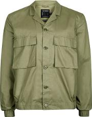 Topman , Mens Green Khaki Cotton Smart Shacket