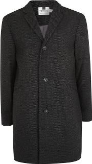Topman , Mens Grey Textured Overcoat