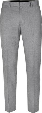 Topman , Mens Mid Grey Grey Flannel Relaxed Fit Cropped Suit Trousers