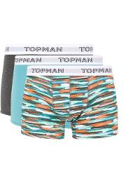 Topman , Mens Multi Pastel Brush Print Trunks 3 Pack