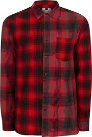 Topman , Mens Red Half And Half Check Shirt