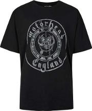 Topman , Mens Washed Black Motorhead Print Oversized T Shirt