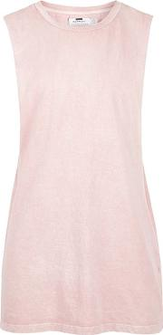 Topman , Mens Washed Pink Extreme Cut Tank Vest