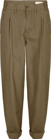 Selected Homme , Mens Green  Khaki Worker Chinos