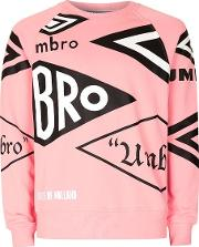 Umbro , Mens House Of Holland X  Pink All Over Logo Sweatshirt