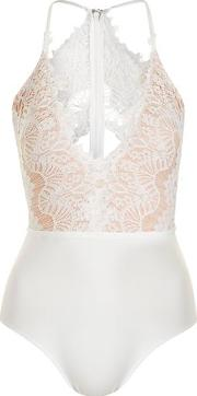 Rare , Womens Scallop Lace Plunge Bodysuit By